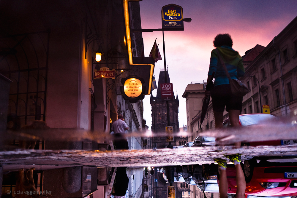 Evenening painted on puddle, Prague, Czech republic © lucia eggenhoffer